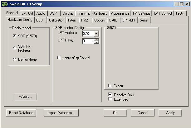 PowerSDR-IQ Config